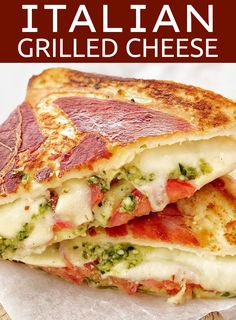 Feel like a grown up version of a grilled sandwich? This is the ultimate grilled cheese sandwich,super easy but super gourmet! With tomato, mozzarella and basil pesto then wrapped in prosciutto, this will blow your mind! Grilled Cheese With Tomato, Ultimate Grilled Cheese, Pesto Grilled Cheeses, Food With Cheese, Gourmet Cheese, Grilled Tomatoes, Gourmet Sandwiches, Wrap Sandwiches, Dinner Sandwiches