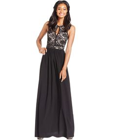 Nightway Lace-Bodice A-Line Gown