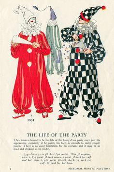 Clown costume patterns.