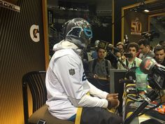 Panthers CB Josh Norman Wears Luchador Mask at Super Bowl 50 Opening Night Josh Norman, Luchador Mask, Nfl Playoffs, Opening Night, Panthers