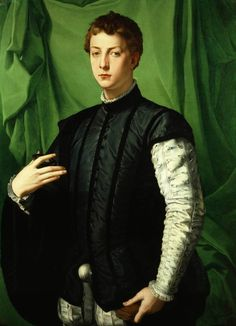 Bronzino (Agnolo di Cosimo) ~ Portrait of Ludovico Capponi, It has always been my belief that the Renaissance in Venice and the North of Europe was so different from that of Rome, they didn't have the history of the classical world hanging over them. Mode Renaissance, Costume Renaissance, Renaissance Kunst, Renaissance Portraits, Renaissance Paintings, Renaissance Clothing, Art Ancien, Italian Painters, Oil Painting Reproductions