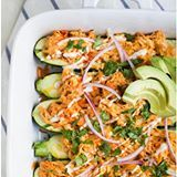 Ok, I know what you're thinking. You wanna  have that Hot Fudge Sundae! I know! I get it. 🙋 It's Friday! But before you have that sundae, make these guilt free BUFFALO CHICKEN ENCHILADA ZUCCHINI BOATS. Tender Zucchini stuffed with a creamy Buffalo Chicken mixture then drizzled with ranch. It's a flavor 💣 in your mouth with half the calories! 🙌🏼 . . Click linkinprofile for recipe ☝🏼 . . #buzzfeast #CookCL #dinner #eatingfortheinsta #eattheworld #eeeeeats #greatist #glutenfree #gameday…