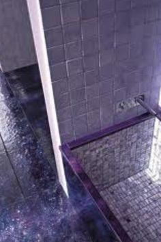 Purple tiles in a purple hued bathroom - Repinned by Anna Marie Fanelli - www.annamariefanelli.com