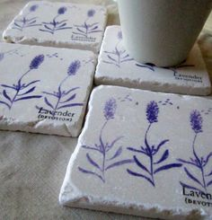 Gorgeous, love these! Lavender Coasters Set of 4 Ready to Ship by MyLittleChick on Etsy