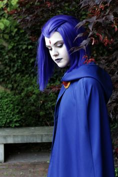 Raven from Teen Titans Costume, make-up and wig by me.