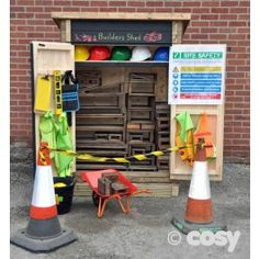 The builders shed is perfect for storing blocks, building materials and loose parts for construction projects. Eyfs Outdoor Area, Outdoor Play Areas, Outdoor Games, Outdoor School, Outdoor Classroom, Eyfs Classroom, Classroom Displays, School Classroom, Outdoor Storage Sheds