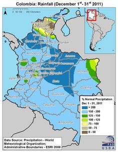 map of colombia showing rainfall in december 2011