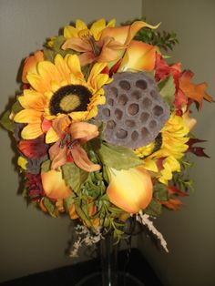 Fall bridal bouquet designed by Sonya Biemann at Lemongrass in Timmins,ON Canada