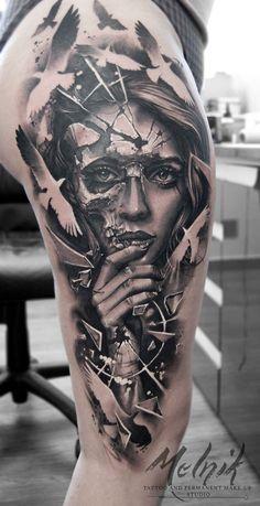 Photo by tattoo Maxim Melnyk Photo by tattoo Maxim Melnyk - artist Art.Pinindec ozcatrade Art Photo by tattoo Maxim Melnyk Art.Pinindec Photo by tattoo Maxim Melnyk ozcatrade Photo by tattoo Maxim Melnyk - artist Art Photo by tattoo Maxim Melnyk Skull Girl Tattoo, Girl Face Tattoo, Skull Tattoos, Tattoo Girls, Cute Tattoos, Unique Tattoos, Leg Tattoos, Body Art Tattoos, Tribal Tattoos