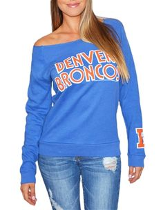 Love the off-shoulder look of this Denver Broncos sweatshirt!