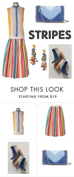 """""""stripes at all"""" by kseniakul ❤ liked on Polyvore featuring Zara, Alice + Olivia, PAOLA FERRI, STELLA McCARTNEY and Tory Burch"""