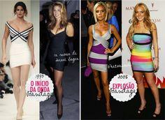 """Se você pensou que Victoria Beckham foi a primeira famosa a usar um vestido bandage em público, super se engana! Foi Cindy Crawford, a top model e musa de Hervé Leger, que aparece com umlittle black dress no final dos anos 80 e iniciou o estilo chamado """"body-con"""", que nada mais é que um vestido …"""