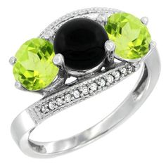 10K White Gold Natural Black Onyx & Peridot Sides 3 stone Ring Round 6mm Diamond Accent, size 6, Women's