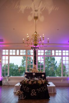Purple, green, white and silver wedding at Carmel Mountain Ranch Country Club in San Diego, California.  #monogram #uplighting #sweethearttable #purple View More: http://nataliebray.pass.us/meganandjustinwedding