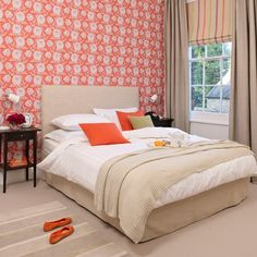 Coral-and-Beige-floral-bedroom-Style-At-Home-Housetohome.jpg (550×550)