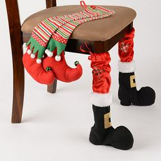 Complete your dining room décor with these Santa stompers! Our Christmas Chair Leg Covers are crafted with plush fabrics for an authentic Santa and elf look. Christmas Sewing, Noel Christmas, All Things Christmas, Winter Christmas, Christmas Stockings, Christmas Ornaments, Funny Christmas, Christmas Kitchen, Christmas 2019