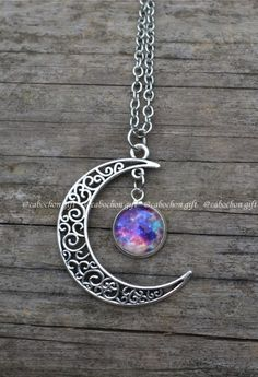 Moon and galaxy necklace