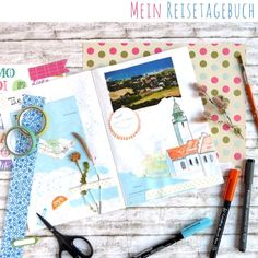 My ideas for your DIY travel diary - Easter Day Easter Art, Travelers Notebook, Travel Destinations, Thats Not My, Doodles, Presents, Bullet Journal, Illustration, Lettering
