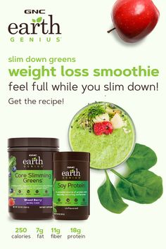 Featuring Earth Genius Core Slimming Greens and Earth Genius Soy Protein, this weight loss smoothie is packed with nutrients and protein to help you feel full. Get the recipe, and start livin' like a genius. healthy smoothies with almond milk Healthy Detox, Healthy Smoothies, Healthy Drinks, Healthy Weight, Avocado Smoothie, Smoothie Diet, Healthy Tips, Weight Loss Smoothie Recipes, Weight Loss Drinks