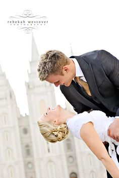 Woo hoo! Mormon couple with the temple in the background and a girl in a modest dress! So proud.