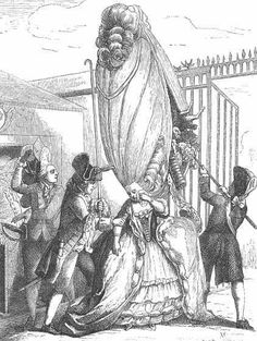 Giant Coiffure.  Late 18th century the hairstyle when to extremities. During this time, they had a stick to help them to hold the wig up and also the wigs were generally full of parasites, so they could also scats their head when the icing came too much.