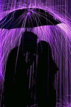 A Kiss underneath the Umbrella in the Purple Rain Purple Haze, The Purple, All Things Purple, Shades Of Purple, Purple Stuff, Purple Colors, Neon Purple, Purple Glass, Purple Roses