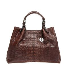 Brand: VIA LA MODA Size: 36W x 15D x 25.5H cm Material: Crocodile Horn Back Leather Features: Sheep skin and silk lining Inside mobile phone and open pockets Inside two zip pockets Inside two compartments Inside attached key holder Magnet closure Bottom nickel feet to prevent scuffing