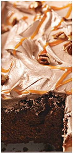 No-Fuss Turtle Cake ~ Only 15 minutes of prep... Five ingredients is all you need for this chocolate and caramel cake.