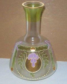 Amazing ART NOUVEAU Wine CARAFE or VASE Hand Painted Grapes VERRE DE SOIE Glass