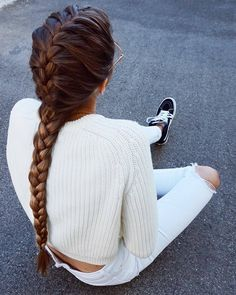 french braid | fishtails | pigtails | ponytails | ponies | brunette | hairstyles | cute | pony tails