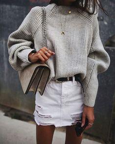 Grey sweater and white mini skirt
