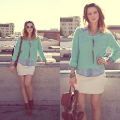 Quayeyeware Mint Shades, Urban Outfitters Sweater, Nous Savons Necklace, Urban Outfitters Denim Button Down, Urban Outfitters Skirt, Backpack, Madewell Boots