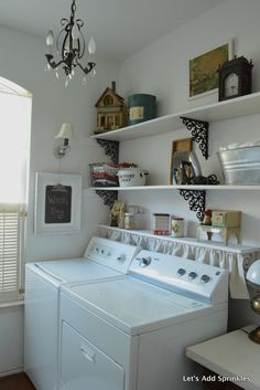 Let's Add Sprinkles: Kicking The Sugar Craving Laundry Room Shelves, Laundry Room Cabinets, Laundry Decor, Farmhouse Laundry Room, Laundry Room Design, Laundry Rooms, Laundry Rack, Basement Laundry, Laundry Closet