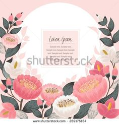 Vector illustration of a beautiful floral border with spring flowers. Pink background - stock vector