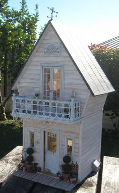 tiny shabby houses | made the coal box on the side of the house to hide the plug where ...