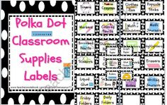 Classroom Supply Labels (Polka Dot Black & White) Back to School from KinderKuties on TeachersNotebook.com (7 pages)  - Classroom Supply Labels (Polka Dot Black & White)     Great for organizing your classroom during Back to School!