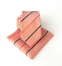 Peach Stripes Tie. Necktie Peach Navy Blue Stripes by TieObsessed