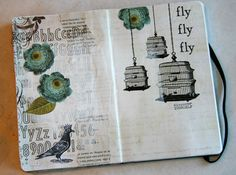 liking the idea of cutting out parts of scrapbook paper patters (aka flower on this journal page) to use as element of journal