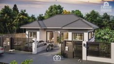 This one storey duplex house plan has 2 bedrooms each unit with the standard rooms for a common house like the living room, dining, kitchen toilet and bath and service area. Open Floor House Plans, Porch House Plans, Duplex House Plans, Bedroom House Plans, Floor Plans, Small Modern House Plans, Beautiful House Plans, Modern House Design, Double Storey House Plans