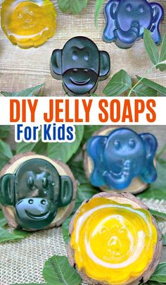 diy soap Homemade jelly soaps for kids! Soap jellies for kids with essential oils. DIY soap project with essential oils for kids. Bath Jellies, Shower Jellies, Homemade Baby Toys, Homemade Jelly, Diy For Men, Diy For Kids, Diy Art, Diy Savon, Jelly Soap