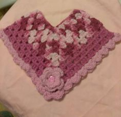 PONCHO SHRUG TODDLER HAND CROCHETED MAUVE & VARIEGATED & PINK W/ROSE  3 TO 5  #SANDPALACEHANDCHROCHET #PONCHO #CasualFormalParty