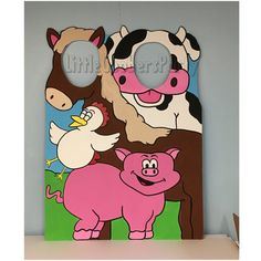 This Hand Painted Farm Theme double hole Cutout will be a hit at any birthday party or event!! Photo fun for everyone! So Quit Horsing around and buy one!! :) This cutout is a Hand Painted on 40x30 Foam Core Board standing about 3.5 feet tall. *A stand is also included* **This can be made with larger dimensions on WOOD for annual and outdoor use, message me for details and pricing.** Please message me the following Before ordering: - Party Date - any special requests - personalization…