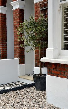 Plastered rendered front garden wall painted white metal wrought iron rail and gate victorian mosaic tile path in black and white scottish pebbles York stone balham london garden art garden box garden furniture art projects furniture pot design Front Garden Path, Front Path, Victorian Front Garden, Victorian Homes, Garden Ideas Victorian Terrace, Edwardian Haus, Victorian Mosaic Tile, York Stone, Small Front Gardens