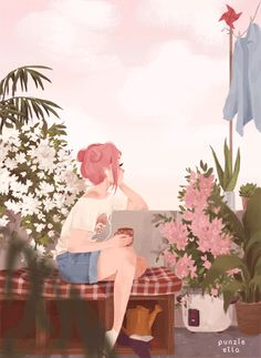 Anime picture with original punziella single tall image short hair sitting pink hair sky cloud (clouds) looking away signed bent knee (knees) wind full body eyelashes payot no shoes hair bun (hair buns) animated gif Art Inspo, Kunst Inspo, Inspiration Art, Art And Illustration, Anime Kunst, Anime Art, Character Art, Character Design, Punziella