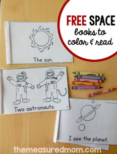 The Measured Mom has a FREE set of Space Themed books to color and read. These books inprove reading, sight words, fine motor and more.  Click h