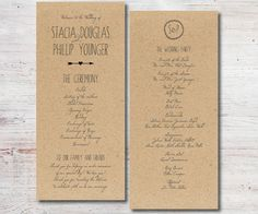 printable wedding program double sided front and back events