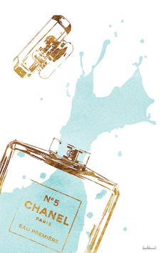 Gold Perfume Bottle With Teal Splash by Amanda Greenwood is printed with premium inks for brilliant color and then hand-stretched over museum quality stretcher bars. Money Back Guarantee AND Free Return Shipping. Chanel N 5, Canvas Artwork, Canvas Prints, Chanel Wallpapers, Painting Prints, Art Prints, Black And White Aesthetic, Teal And Gold, Navy Blue