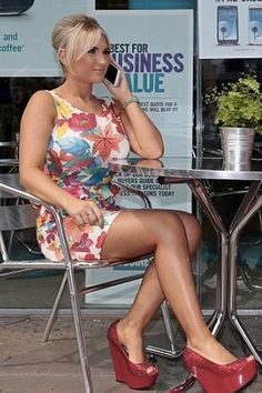 Get celebrity summer style with this stunning Floral Print Peplum Dress seen here on TOWIE'S Billie Faiers