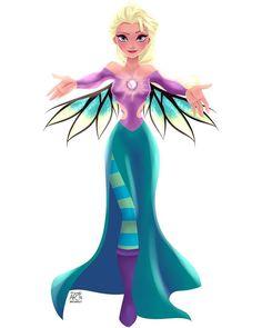 Elsa [as Wilhelmina] (As W.I.T.C.H. by Archibald.Art @Instagram) #Frozen