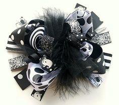Black & White Halloween Loopy Hair Bow